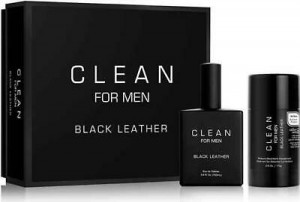 CLEAN FOR MEN BLACK LEATHER EDT 100ML + DEZODORANT SZTYFT 75ML